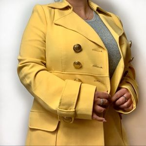 Forever 21 Bright Yellow 3 Button Pea Coat Size L
